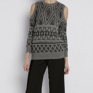 REBECCA MINKOFF Page Metallic Jacquard Sweater S